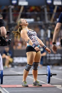 Michelle celebrating post wod at the 2014 NorCal Regionals.